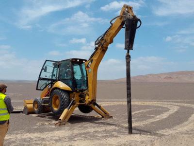 Ica, Perú: hincado ramming test planta solar fotovoltaica
