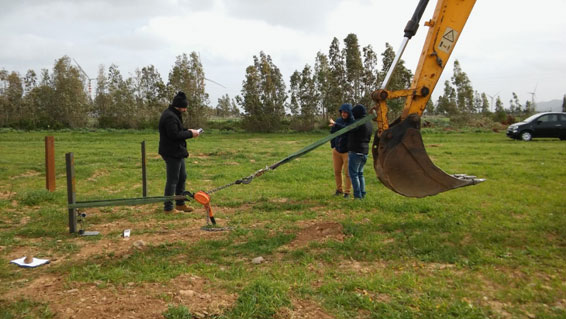Sardinia, Italy: ramming pole test for solar plant
